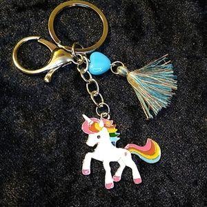 Accessories - Keychain Unicorn Heart Tassel Blue Silver Rainbow
